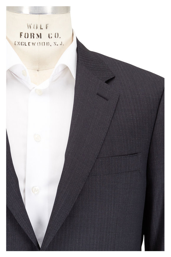 Canali Charcoal Gray Muted Striped Wool Suit