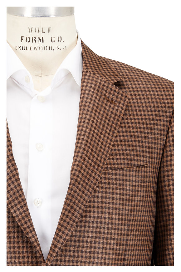 Canali Brown & Tobacco Check Wool Sportcoat