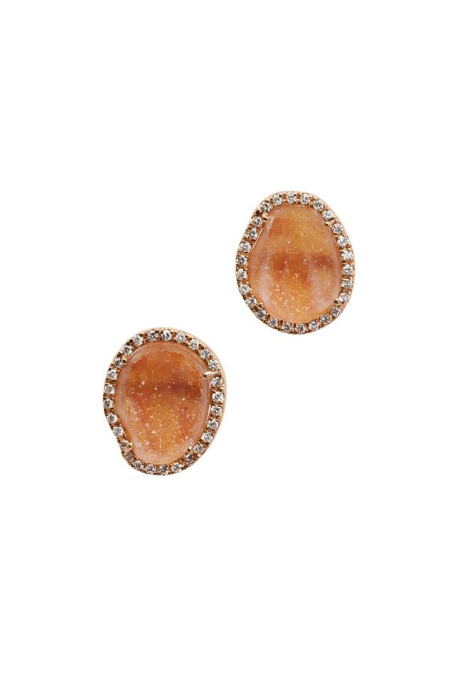 Rose Gold Geode Diamond Stud Earrings