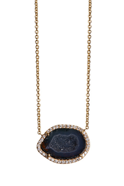 Kimberly McDonald - Yellow Gold Dark Geode Diamond Pendant