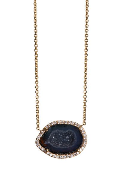 Kimberly McDonald - Yellow Gold Dark Geode Diamond Pendant