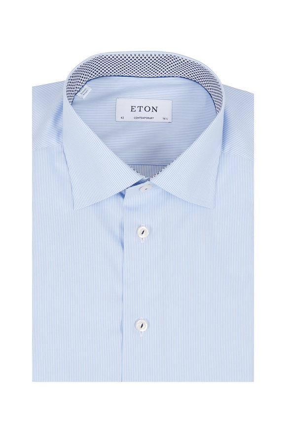 Eton Light Blue Striped Contemporary Fit Dress Shirt