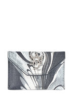Alexander McQueen - Black, White & Gray Abstract Leather Card Case