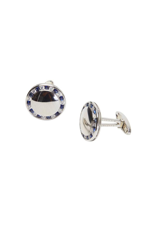 Platinum Blue Sapphire & White Diamond Cuff Links