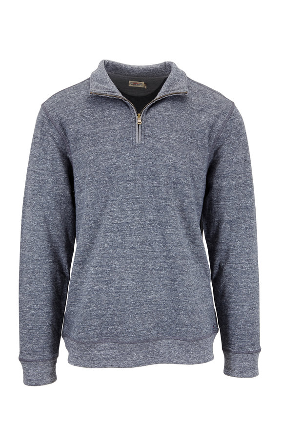 Faherty Brand Dual Charcoal Marled Knit Quarter-Zip Pullover