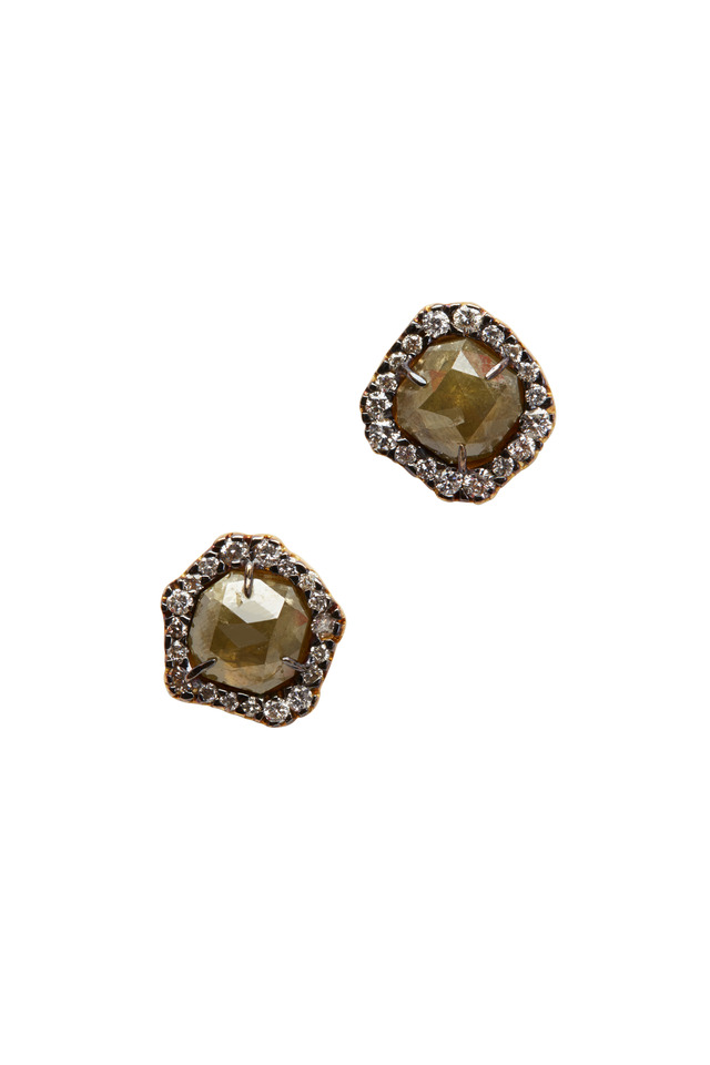 Yellow Gold Natural Diamond Stud Earrings