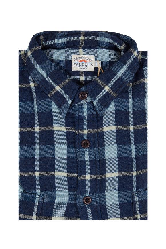 Faherty Brand Seasons Indigo Plaid Flannel Sportshirt