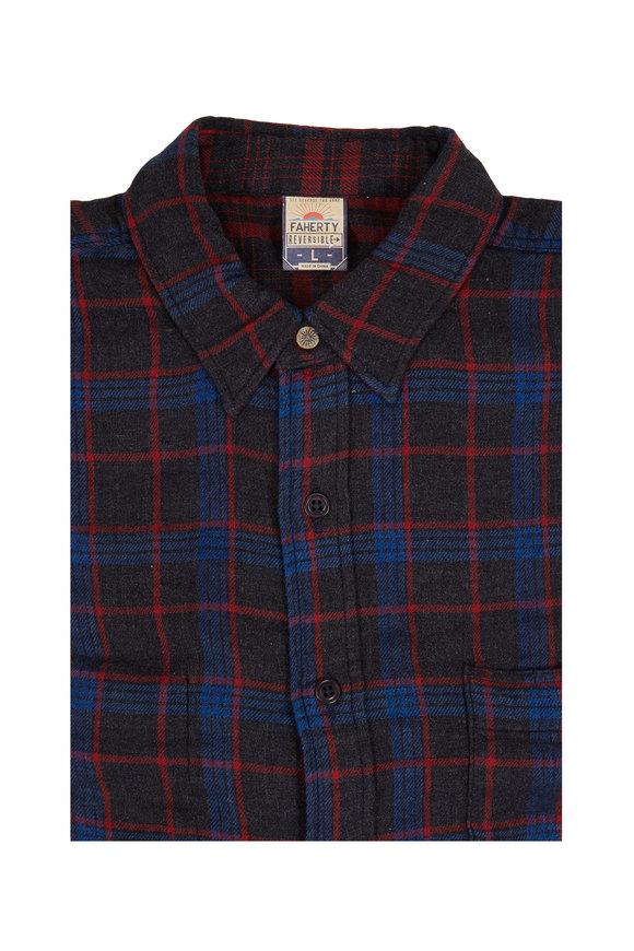 Faherty Brand Belmar Red & Blue Plaid Flannel Sportshirt