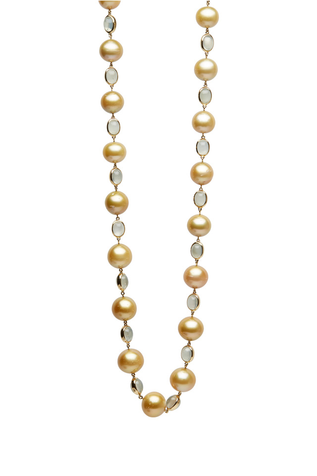 Yellow Gold Green Moonstone & Pearl Necklace