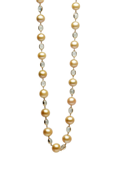 Assael - Yellow Gold Green Moonstone & Pearl Necklace