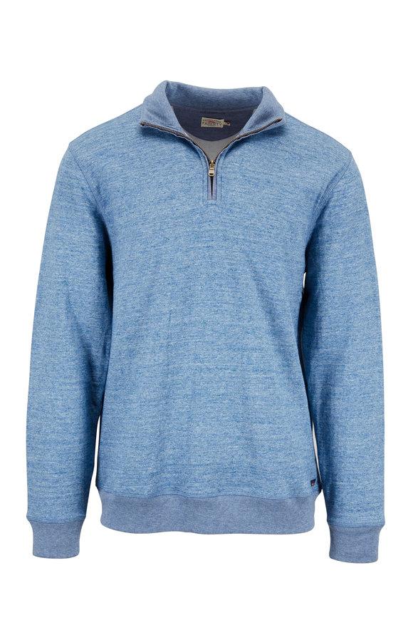 Faherty Brand Dual Medium Blue Knit Quarter-Zip Pullover