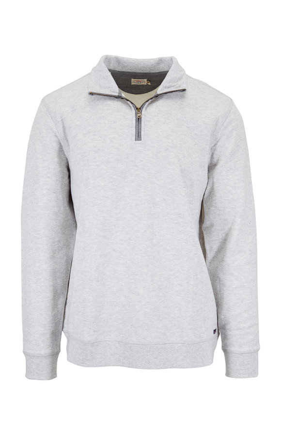 Faherty Brand Dual Athletic Gray Knit Quarter-Zip Pullover