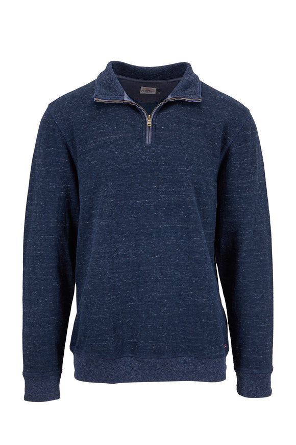 Faherty Brand Dual Navy Blue Knit Quarter-Zip Pullover
