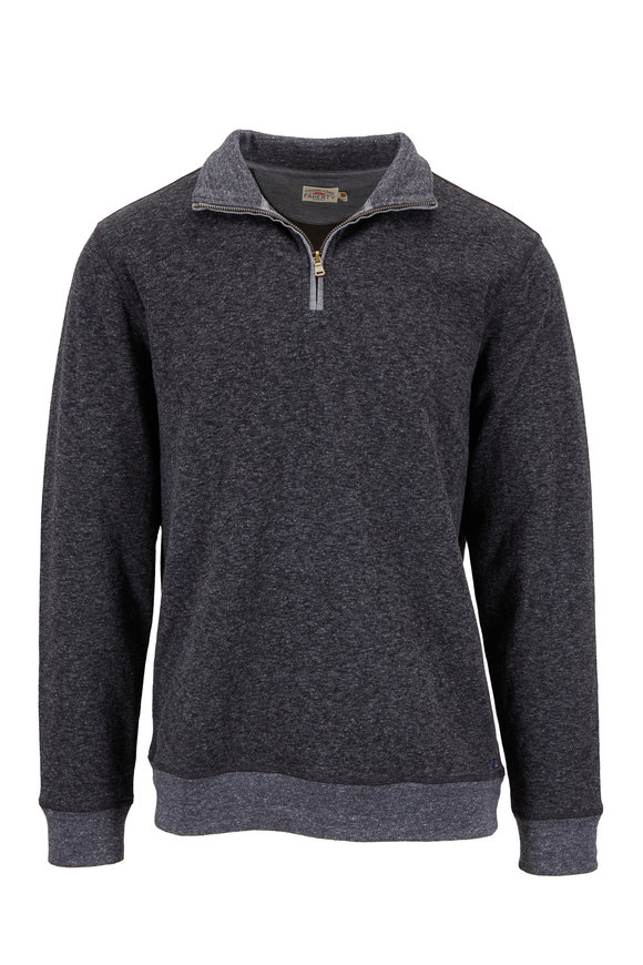 Faherty Brand Dual Washed Black Marled Knit Quarter-Zip Pullover
