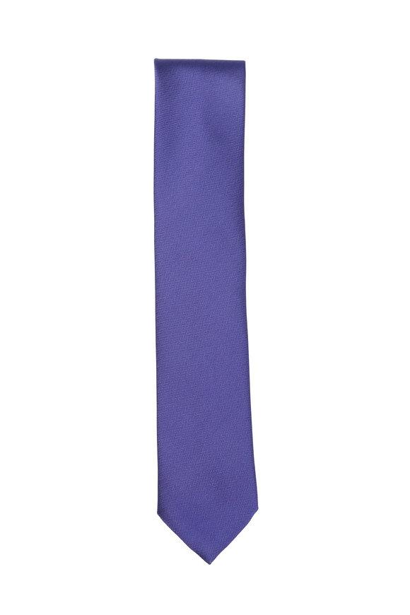 Brioni Solid Bright Blue Silk Necktie