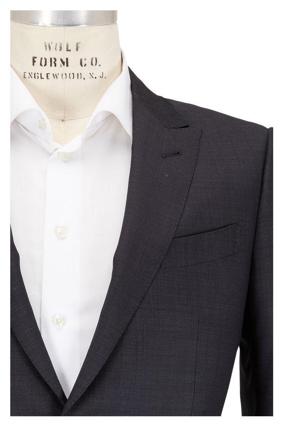 Ermenegildo Zegna Dark Gray Tic Pattern Wool Suit