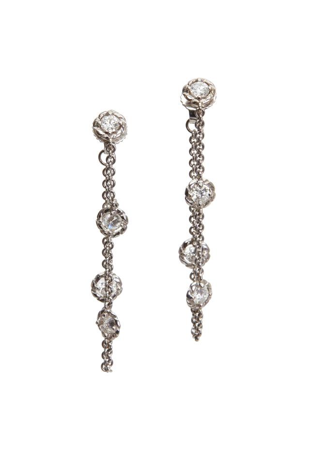 White Gold Chain Hoop Earrings