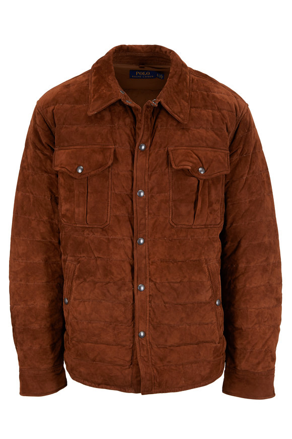 Polo Ralph Lauren Brown Suede Quilted Shirt Jacket
