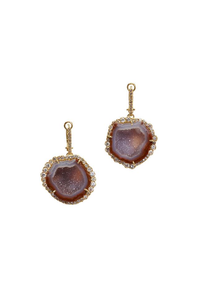 Yellow Gold Geode Diamond Earrings