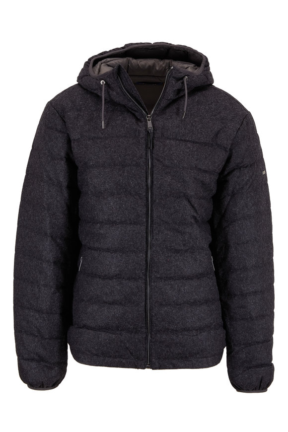 Polo Ralph Lauren Black Quilted Flannel Hooded Jacket