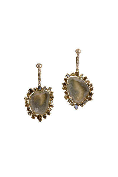Kimberly McDonald - Gold Light Green Geode Green Diamond Earrings