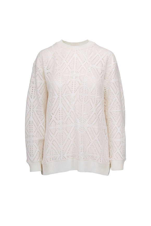 See by Chloé Ivory Stitch Detail Crewneck Sweater