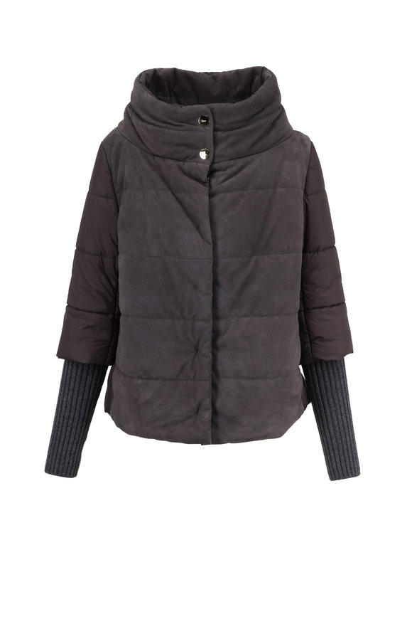 Herno Gray Quilted Nylon & Suede Jacket With Gloves