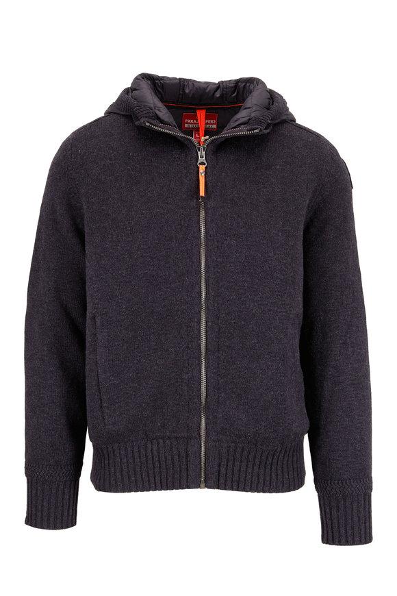 Parajumpers Cody Black Melangé Wool & Nylon Hooded Jacket