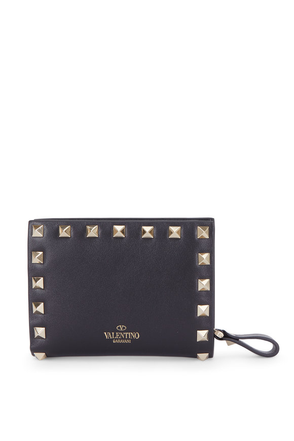 Valentino Rockstud Black Leather Small French Wallet