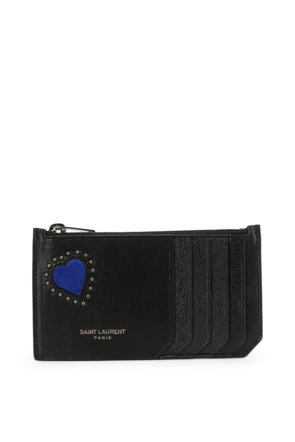Saint Laurent Black Leather Heart Embossed Top-Zip Card Case