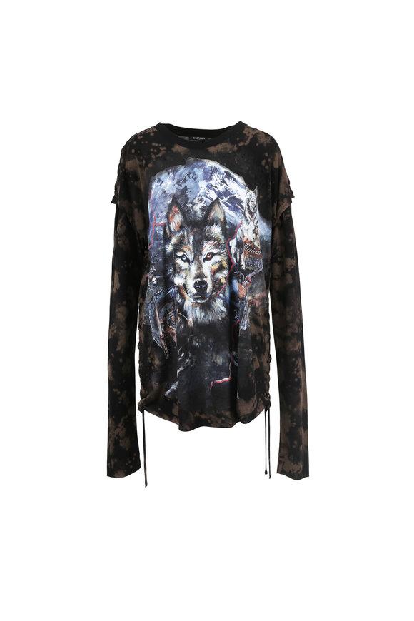 Balmain Gray Wolf Print Layered Long Sleeve T-Shirt