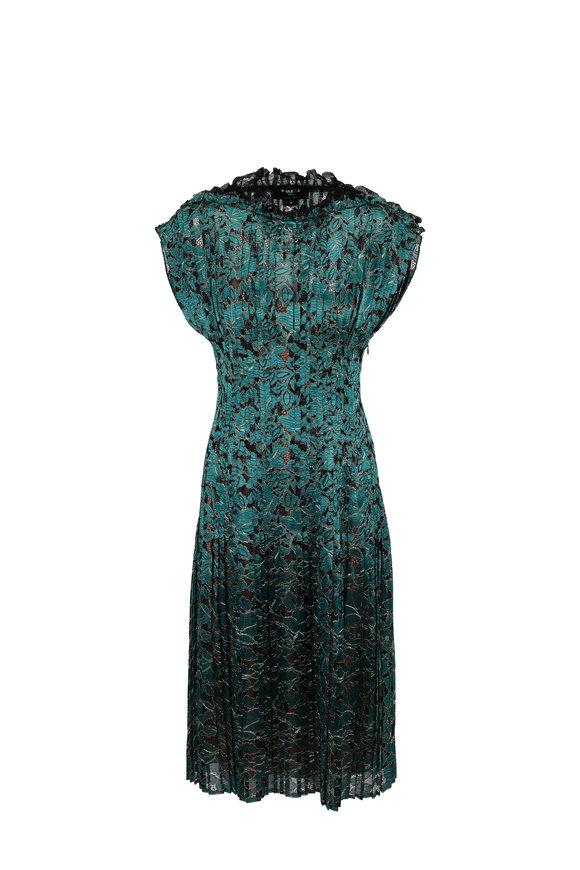 Paule Ka Emerald Lace Pleated Cocktail Dress