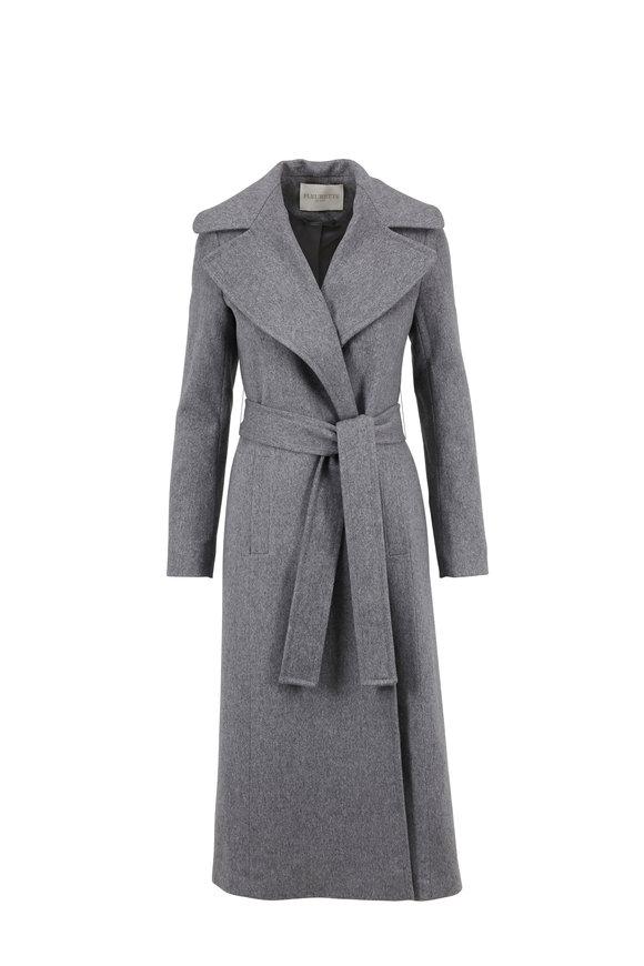 Fleurette Heather Gray Wool Belted Robe Coat