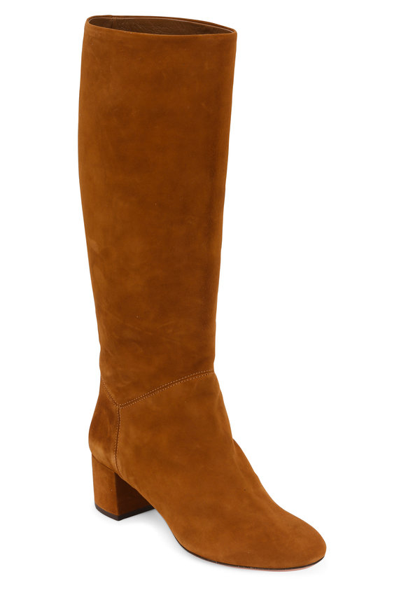 Aquazzura Blenheim Cognac Suede Tall Boot, 50mm