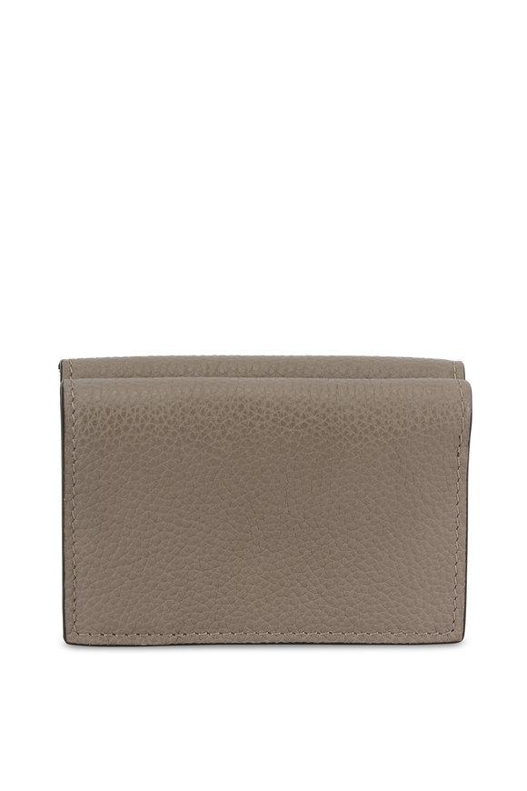 Chloé Motty Gray Mini Tri-Fold Leather Wallet