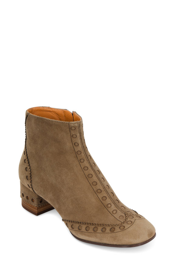 Chloé Maple Brown Suede Wingtip Ankle Boot, 45mm