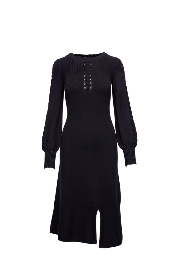 Barrie Black Cashmere Lace-Up Detail Dress
