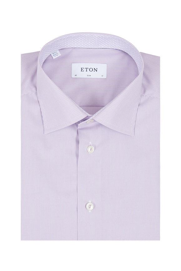 Eton Lavender Pinstriped Slim Fit Dress Shirt