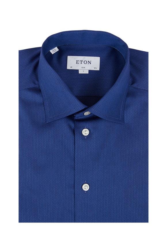 Eton Blue Neat Print Slim Fit Dress Shirt