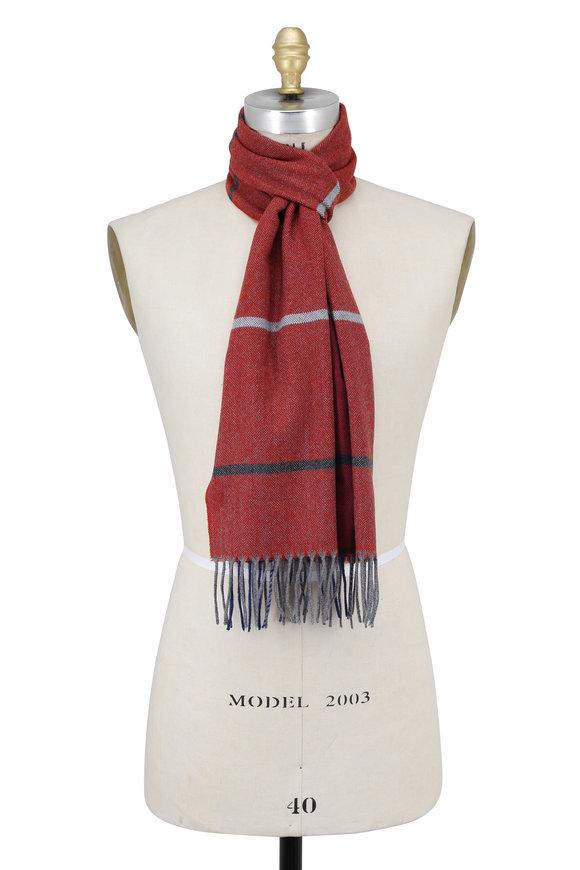 Seaward & Stearn Dark Red & Blue Plaid Wool Scarf