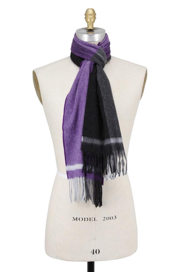 Seaward & Stearn Purple & Gray Striped Wool & Angora Scarf