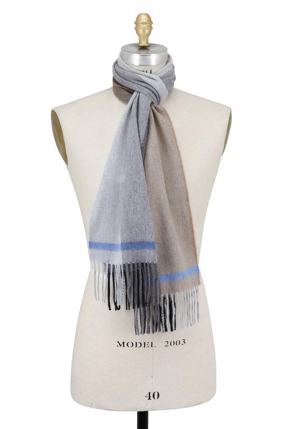 Seaward & Stearn Taupe Striped Wool & Angora Scarf