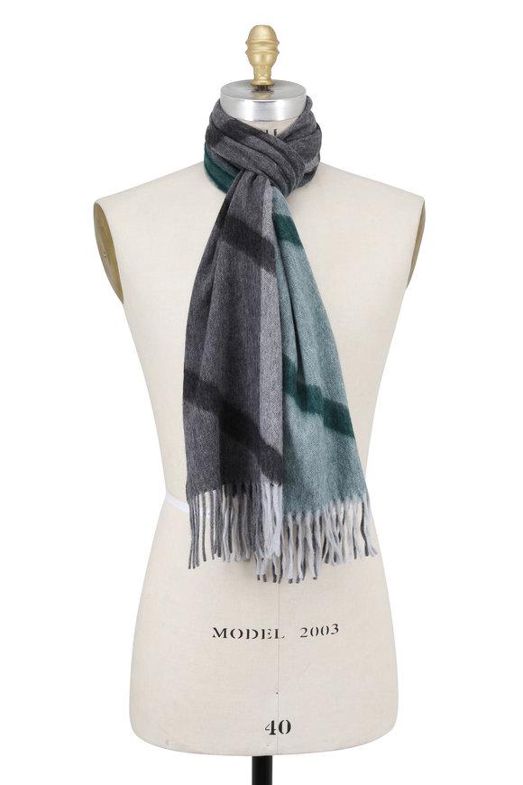 Seaward & Stearn Green Geometric Patterned Wool & Angora Scarf