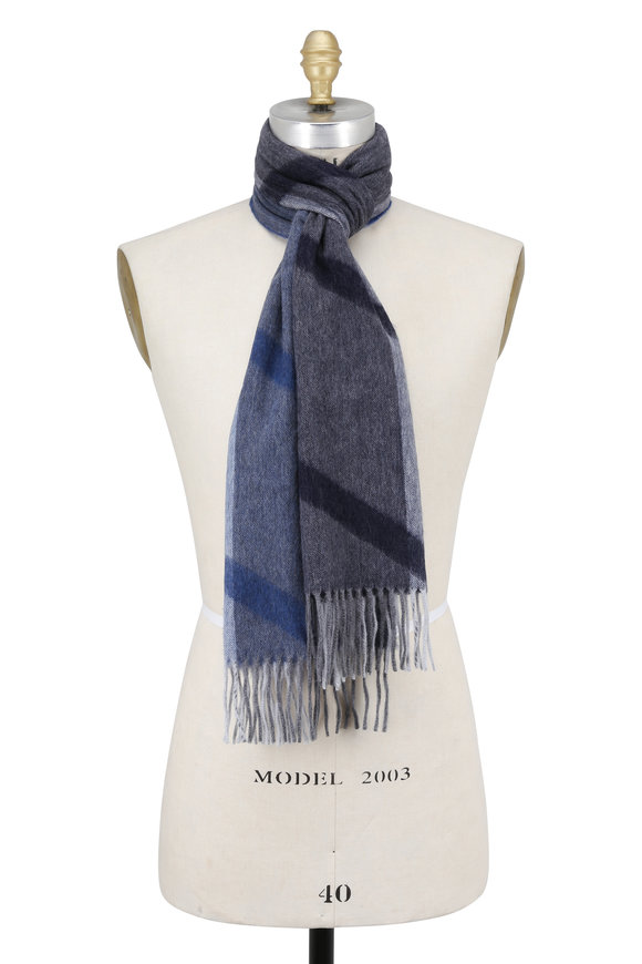 Seaward & Stearn Blue Geometric Patterned Wool & Angora Scarf