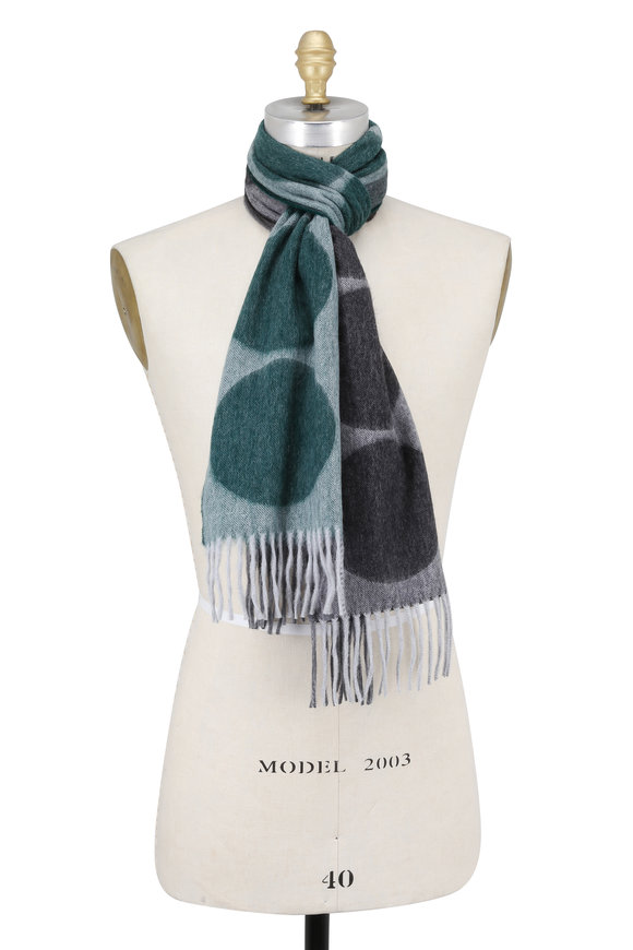 Seaward & Stearn Green Dot Wool & Angora Scarf