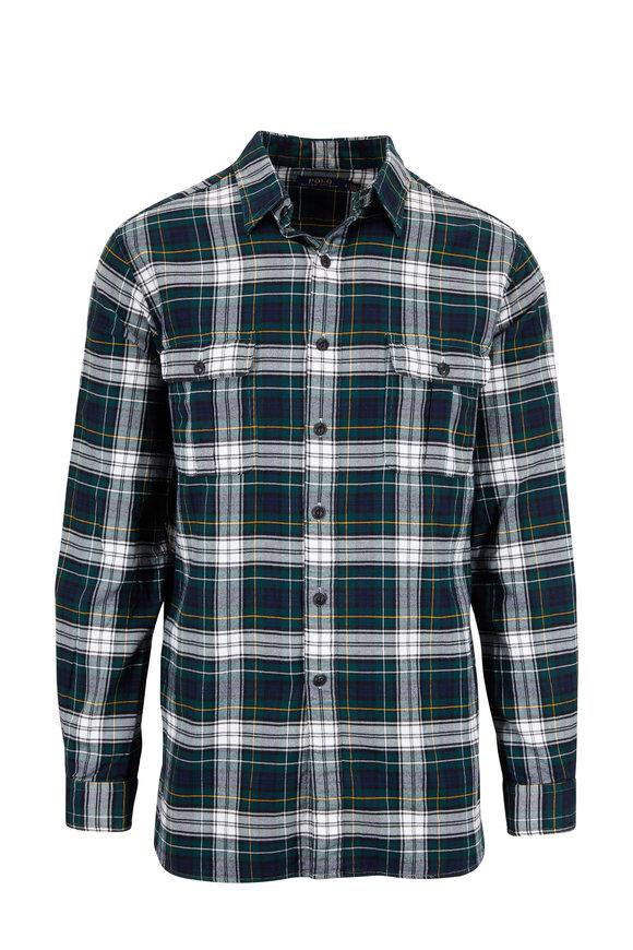 Polo Ralph Lauren Forest Green Plaid Elbow Patch Sport Shirt