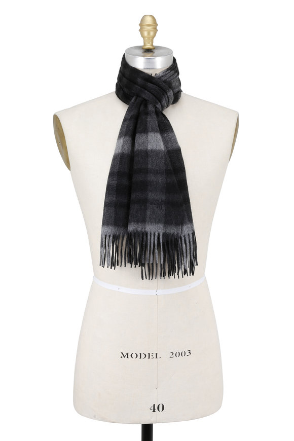 Hickey Freeman Charcoal & Black Plaid Cashmere Scarf