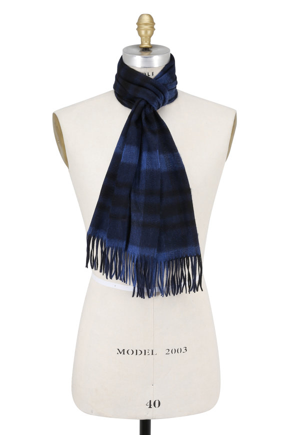 Hickey Freeman Navy Blue & Black Plaid Cashmere Scarf