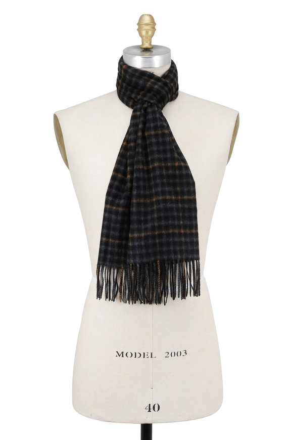 Hickey Freeman Black & Grey Plaid Cashmere Scarf
