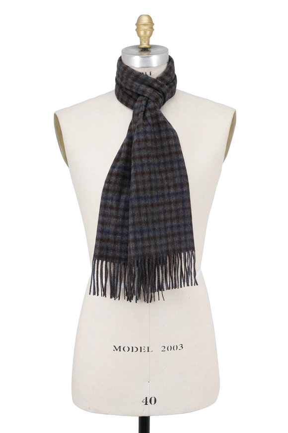 Hickey Freeman Gray & Brown Plaid Cashmere Scarf